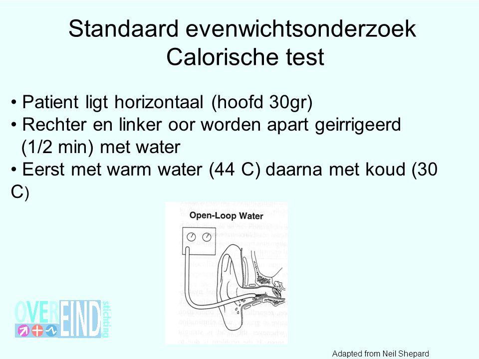 44 • Patient ligt horizontaal (hoofd 30gr) • Rechter en linker oor worden apart geirrigeerd (1/2 min) met water • Eerst met warm water (44 C) daarna met koud (30 C ) Standaard evenwichtsonderzoek Calorische test Adapted from Neil Shepard