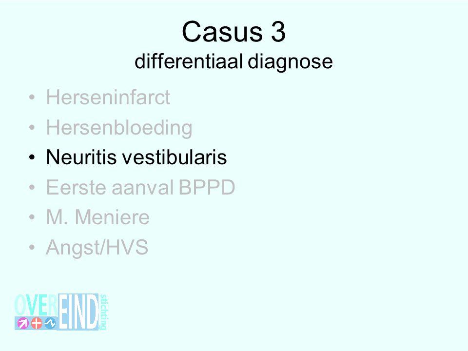 Casus 3 differentiaal diagnose •Herseninfarct •Hersenbloeding •Neuritis vestibularis •Eerste aanval BPPD •M. Meniere •Angst/HVS