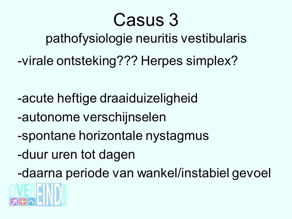 Casus 3 pathofysiologie neuritis vestibularis -virale ontsteking??? Herpes simplex? -acute heftige draaiduizeligheid -autonome verschijnselen -spontan