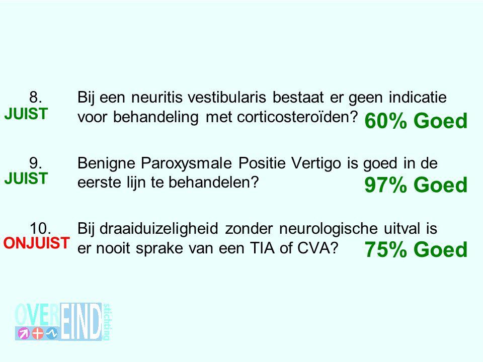 8.Bij een neuritis vestibularis bestaat er geen indicatie voor behandeling met corticosteroïden? 9.Benigne Paroxysmale Positie Vertigo is goed in de e