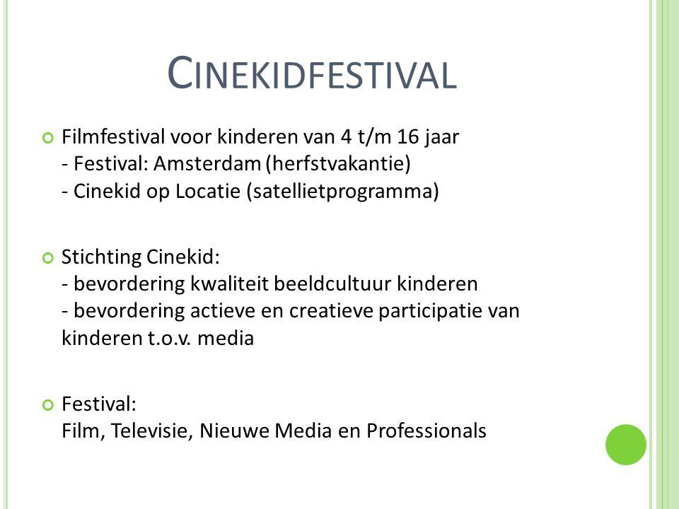 C INEKIDFESTIVAL Filmfestival voor kinderen van 4 t/m 16 jaar - Festival: Amsterdam (herfstvakantie) - Cinekid op Locatie (satellietprogramma) Stichting Cinekid: - bevordering kwaliteit beeldcultuur kinderen - bevordering actieve en creatieve participatie van kinderen t.o.v.