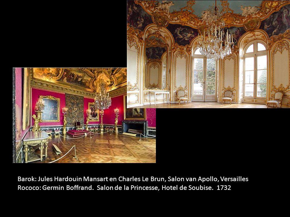 Barok: Jules Hardouin Mansart en Charles Le Brun, Salon van Apollo, Versailles Rococo: Germin Boffrand.