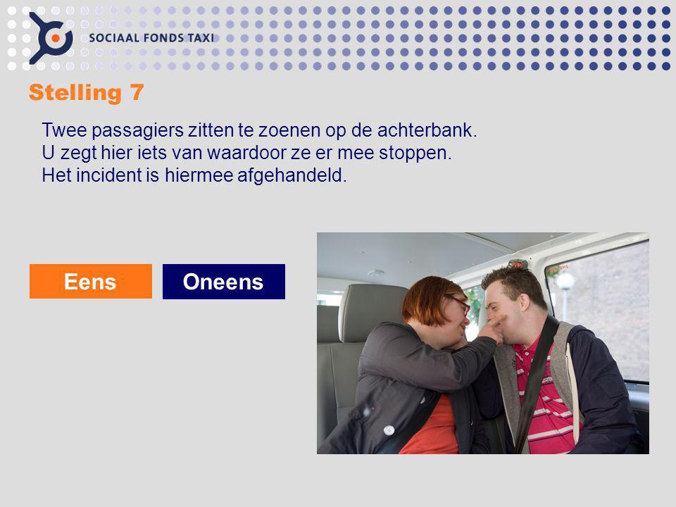 Stelling 7 Eens Oneens Twee passagiers zitten te zoenen op de achterbank. U zegt hier iets van waardoor ze er mee stoppen. Het incident is hiermee afg