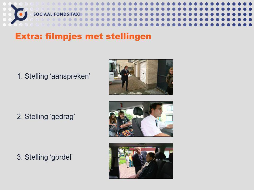 Extra: filmpjes met stellingen 1. Stelling 'aanspreken' 2. Stelling 'gedrag' 3. Stelling 'gordel'