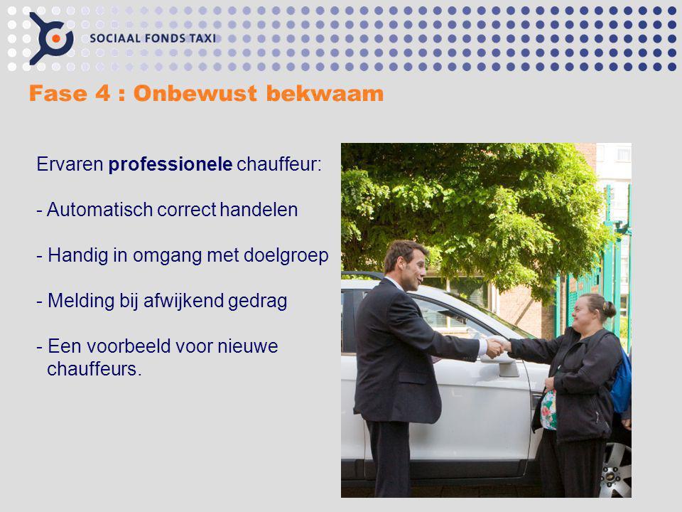 Fase 4 : Onbewust bekwaam Ervaren professionele chauffeur: - Automatisch correct handelen - Handig in omgang met doelgroep - Melding bij afwijkend ged