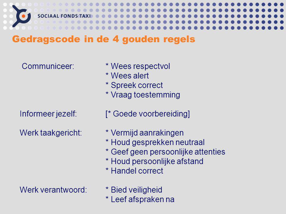 Gedragscode in de 4 gouden regels Communiceer: * Wees respectvol * Wees alert * Spreek correct * Vraag toestemming Informeer jezelf:[* Goede voorberei