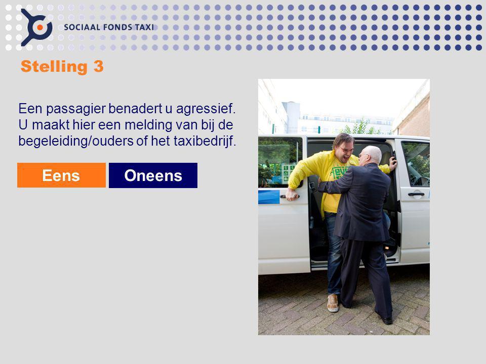 Stelling 3 Een passagier benadert u agressief. U maakt hier een melding van bij de begeleiding/ouders of het taxibedrijf. EensOneens