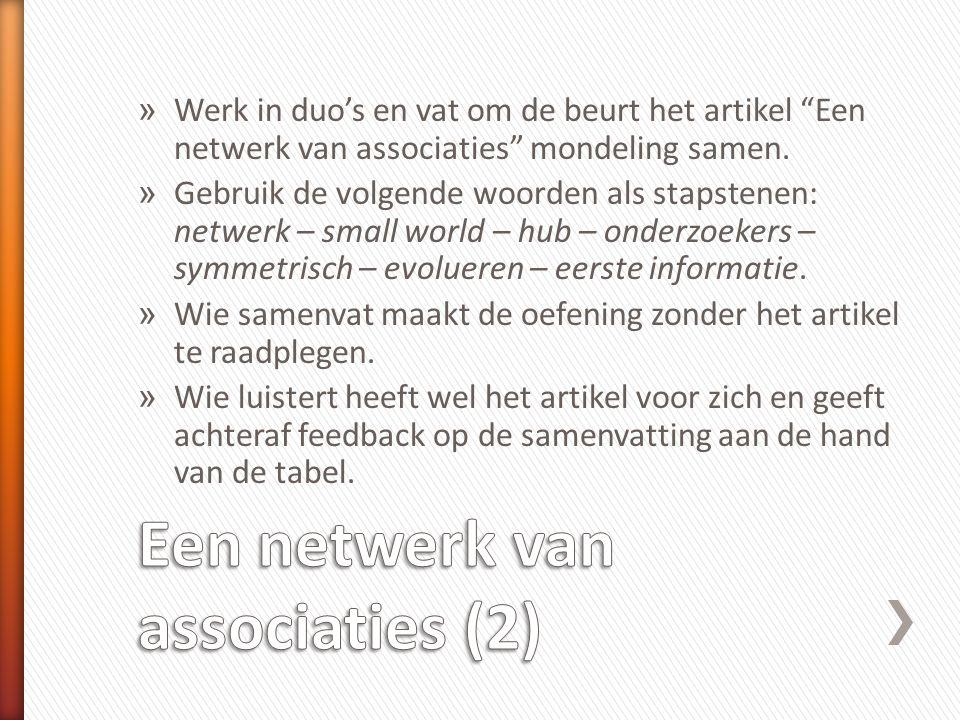 """» Werk in duo's en vat om de beurt het artikel """"Een netwerk van associaties"""" mondeling samen. » Gebruik de volgende woorden als stapstenen: netwerk –"""