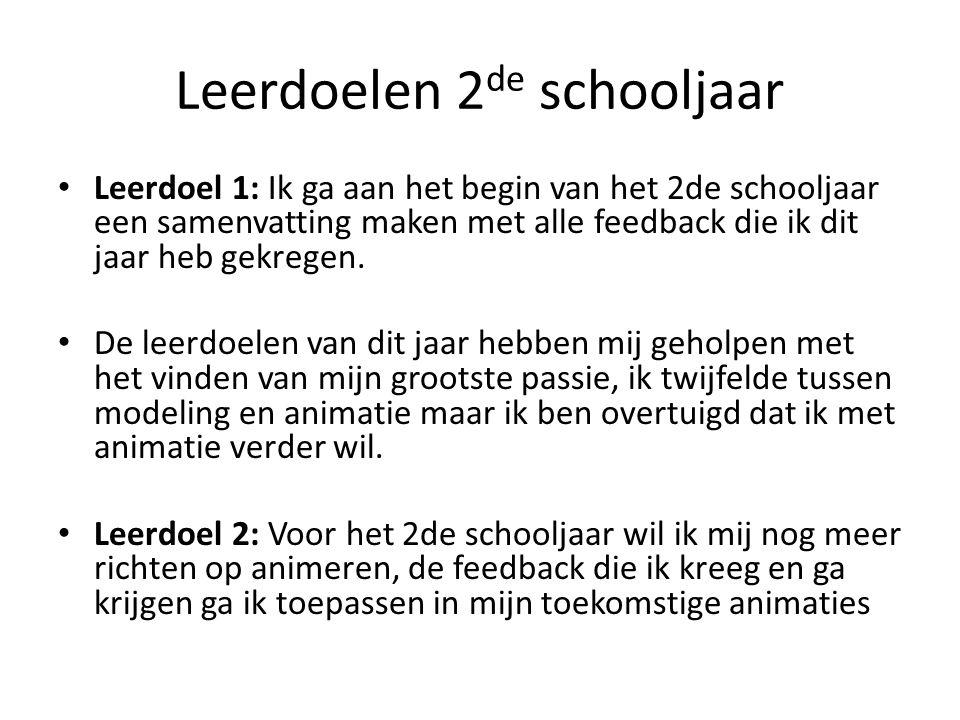 Leerdoelen 2 de schooljaar • Leerdoel 1: Ik ga aan het begin van het 2de schooljaar een samenvatting maken met alle feedback die ik dit jaar heb gekregen.