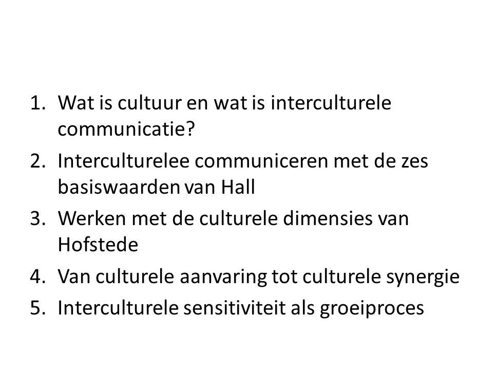 1.Wat is cultuur en wat is interculturele communicatie? 2.Interculturelee communiceren met de zes basiswaarden van Hall 3.Werken met de culturele dime