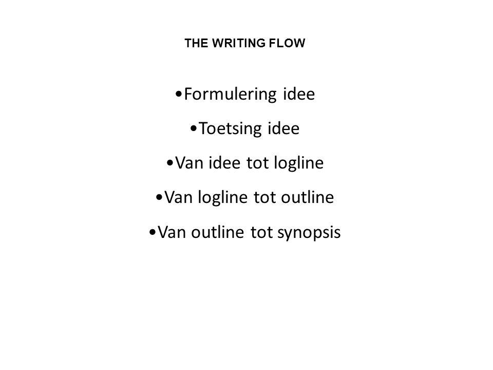 THE WRITING FLOW •Formulering idee •Toetsing idee •Van idee tot logline •Van logline tot outline •Van outline tot synopsis