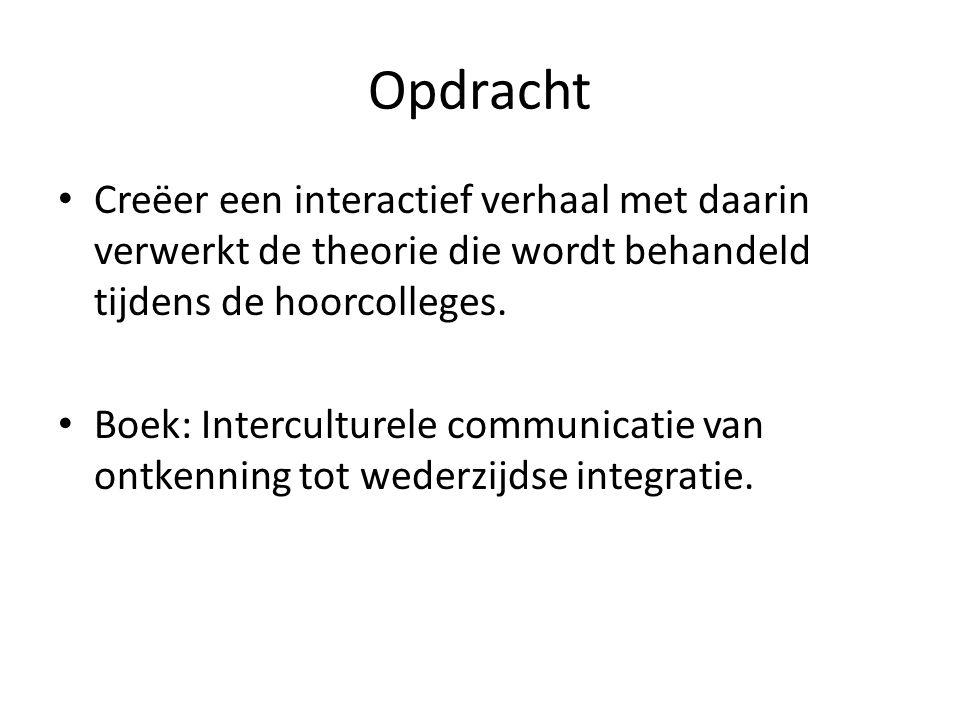 Opdracht • Creëer een interactief verhaal met daarin verwerkt de theorie die wordt behandeld tijdens de hoorcolleges. • Boek: Interculturele communica