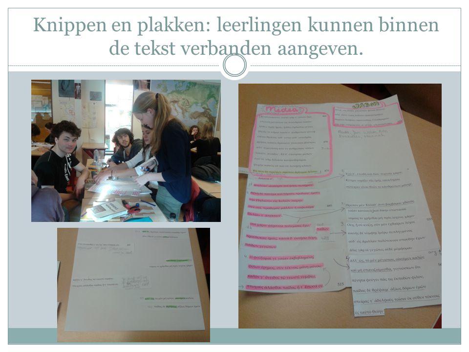 Knippen en plakken: leerlingen kunnen binnen de tekst verbanden aangeven.