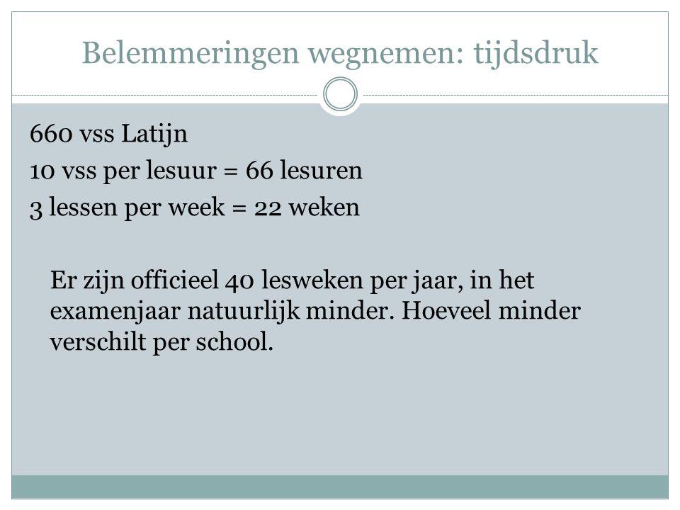 Belemmeringen wegnemen: tijdsdruk 660 vss Latijn 10 vss per lesuur = 66 lesuren 3 lessen per week = 22 weken Er zijn officieel 40 lesweken per jaar, i