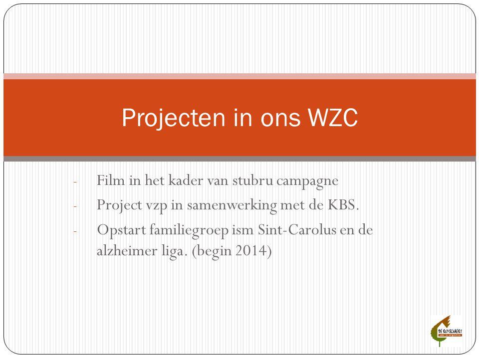 - Film in het kader van stubru campagne - Project vzp in samenwerking met de KBS. - Opstart familiegroep ism Sint-Carolus en de alzheimer liga. (begin