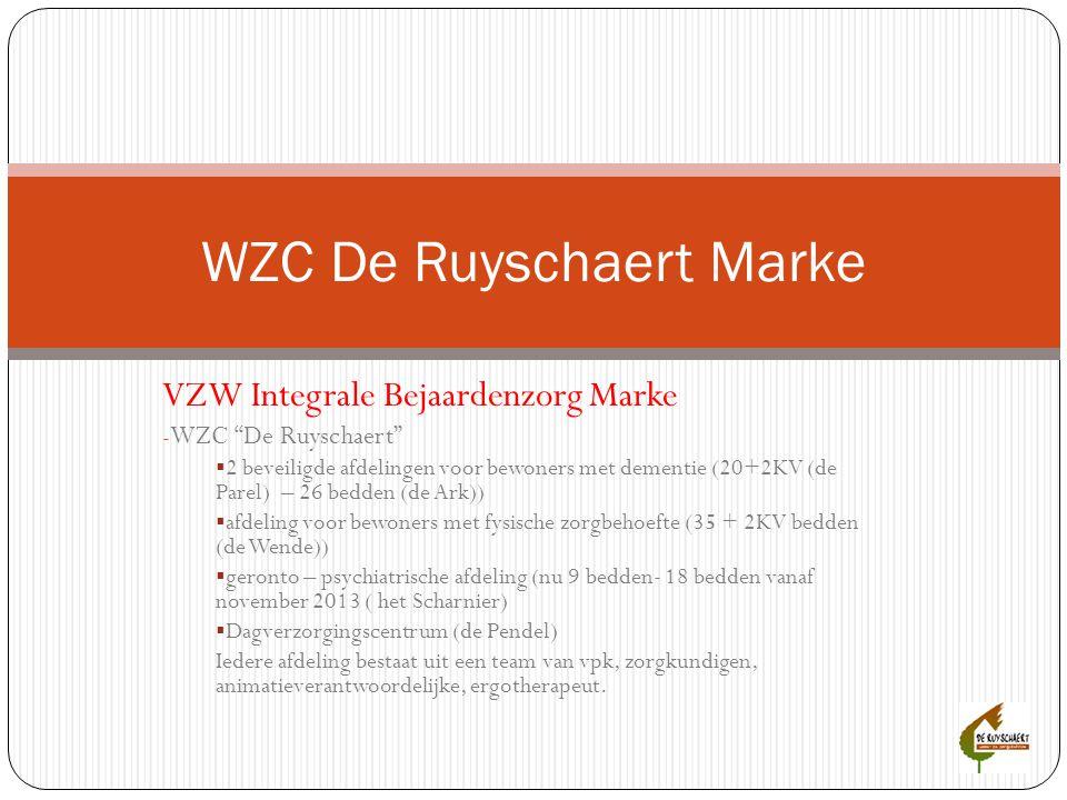 """VZW Integrale Bejaardenzorg Marke - WZC """"De Ruyschaert""""  2 beveiligde afdelingen voor bewoners met dementie (20+2KV (de Parel) – 26 bedden (de Ark))"""