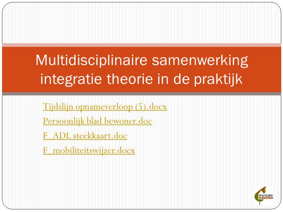 Tijdslijn opnameverloop (5).docx Persoonlijk blad bewoner.doc F_ADL steekkaart.doc F_mobiliteitswijzer.docx Multidisciplinaire samenwerking integratie