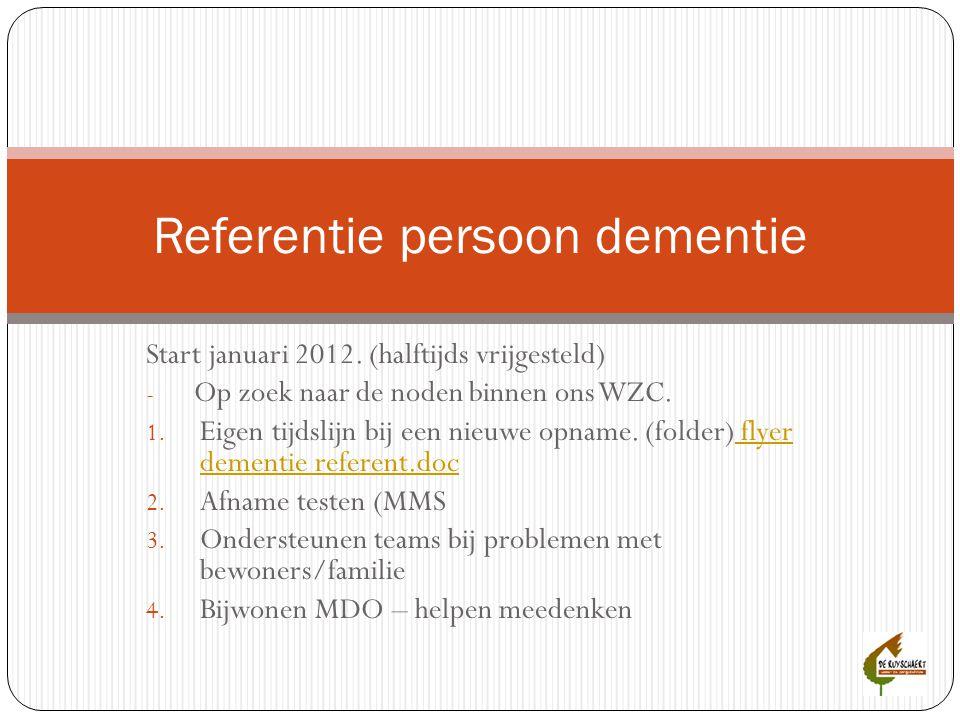 Start januari 2012. (halftijds vrijgesteld) - Op zoek naar de noden binnen ons WZC. 1. Eigen tijdslijn bij een nieuwe opname. (folder) flyer dementie