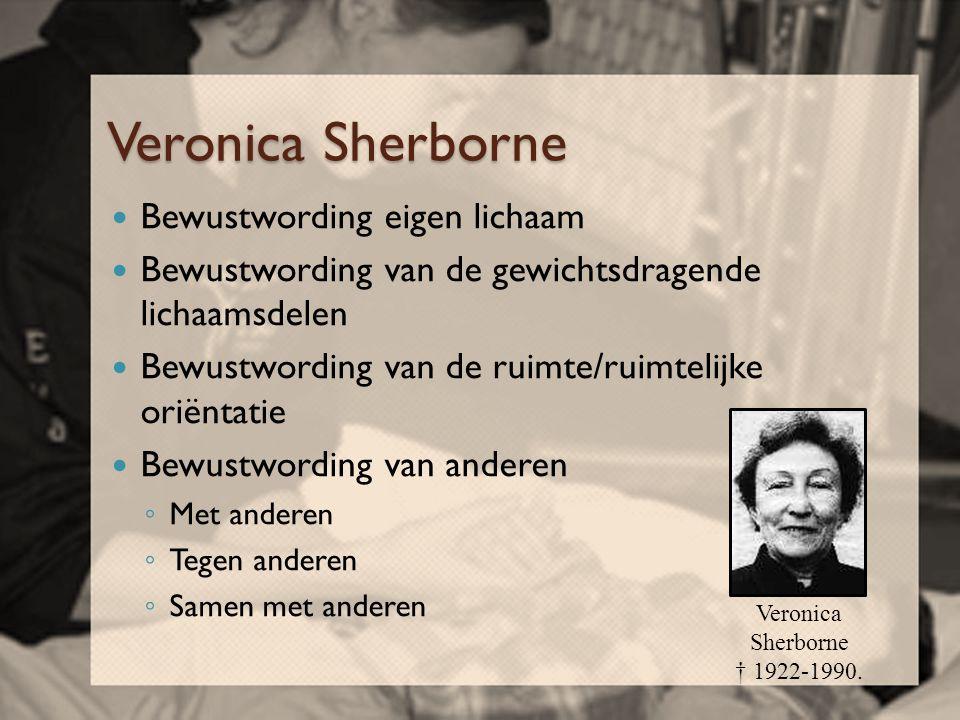 Veronica Sherborne  Bewustwording eigen lichaam  Bewustwording van de gewichtsdragende lichaamsdelen  Bewustwording van de ruimte/ruimtelijke oriën