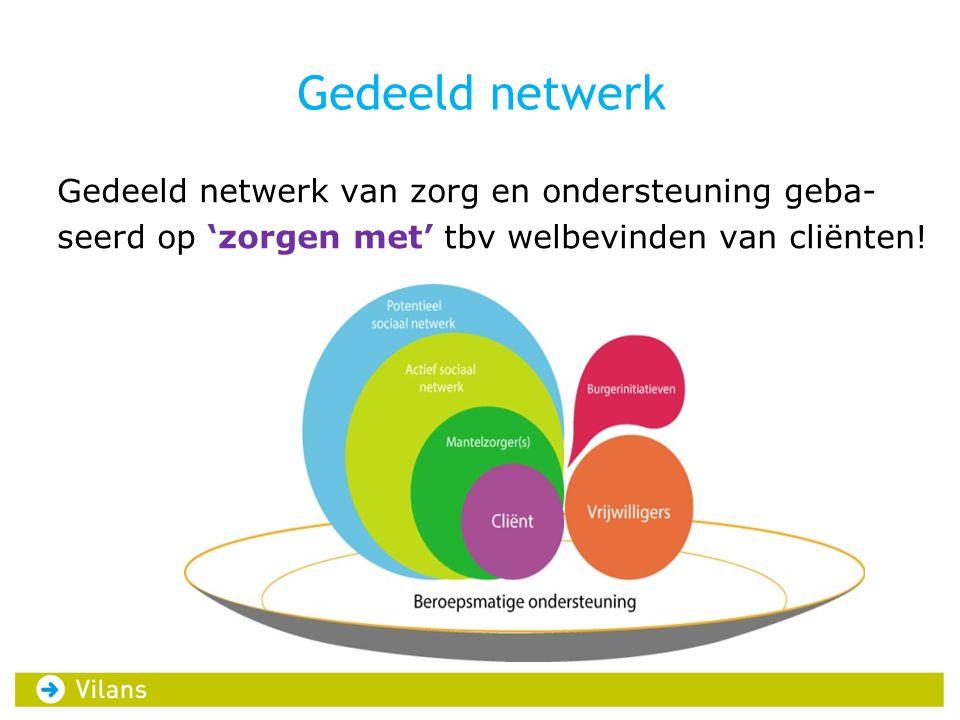 Gedeeld netwerk Gedeeld netwerk van zorg en ondersteuning geba- seerd op 'zorgen met' tbv welbevinden van cliënten!