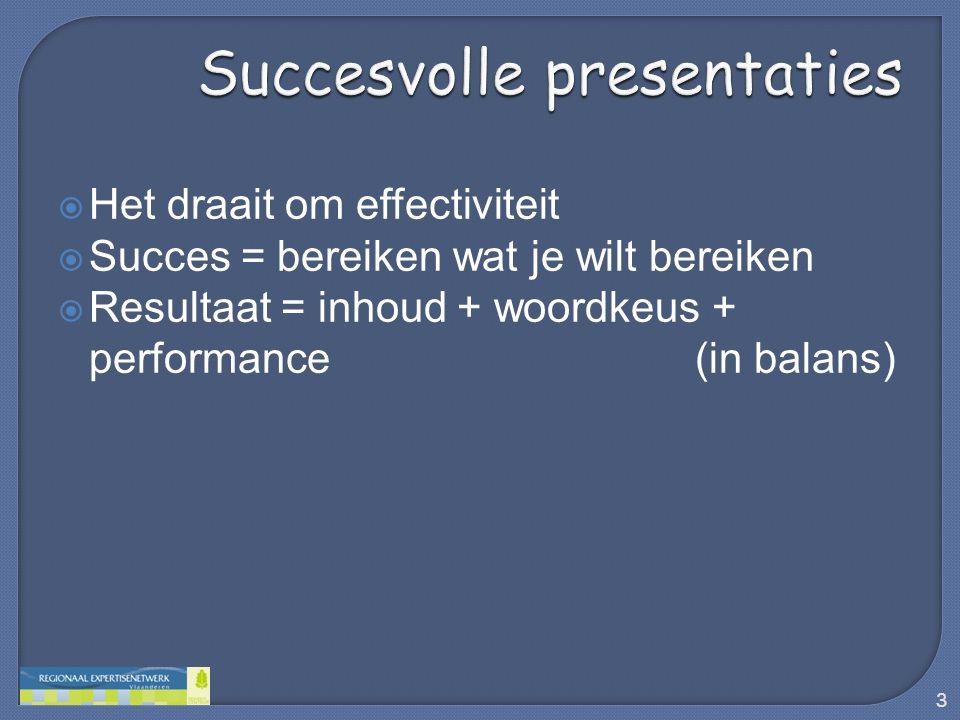  Het draait om effectiviteit  Succes = bereiken wat je wilt bereiken  Resultaat = inhoud + woordkeus + performance (in balans) 3