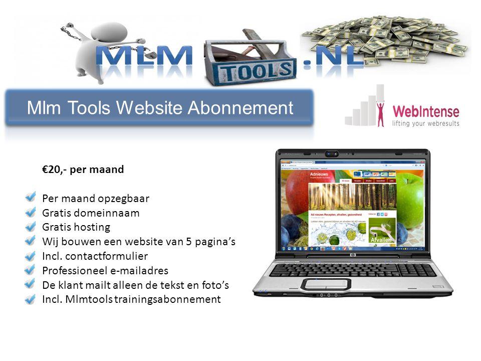 Welke producten €20,- per maand Per maand opzegbaar Gratis domeinnaam Gratis hosting Wij bouwen een website van 5 pagina's Incl.