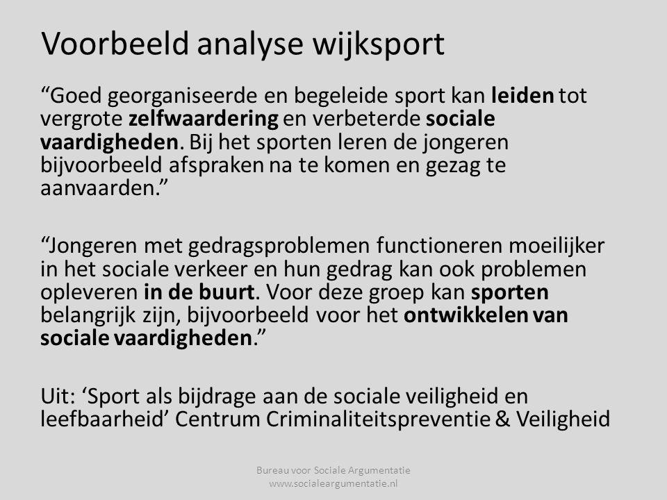 Voorbeeld analyse wijksport Goed georganiseerde en begeleide sport kan leiden tot vergrote zelfwaardering en verbeterde sociale vaardigheden.