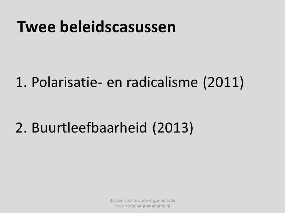 Twee beleidscasussen 1.Polarisatie- en radicalisme (2011) 2.Buurtleefbaarheid (2013) Bureau voor Sociale Argumentatie www.socialeargumentatie.nl