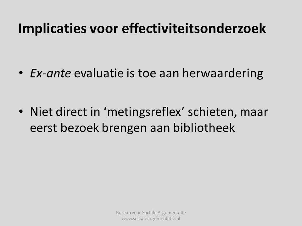 Implicaties voor effectiviteitsonderzoek • Ex-ante evaluatie is toe aan herwaardering • Niet direct in 'metingsreflex' schieten, maar eerst bezoek brengen aan bibliotheek Bureau voor Sociale Argumentatie www.socialeargumentatie.nl
