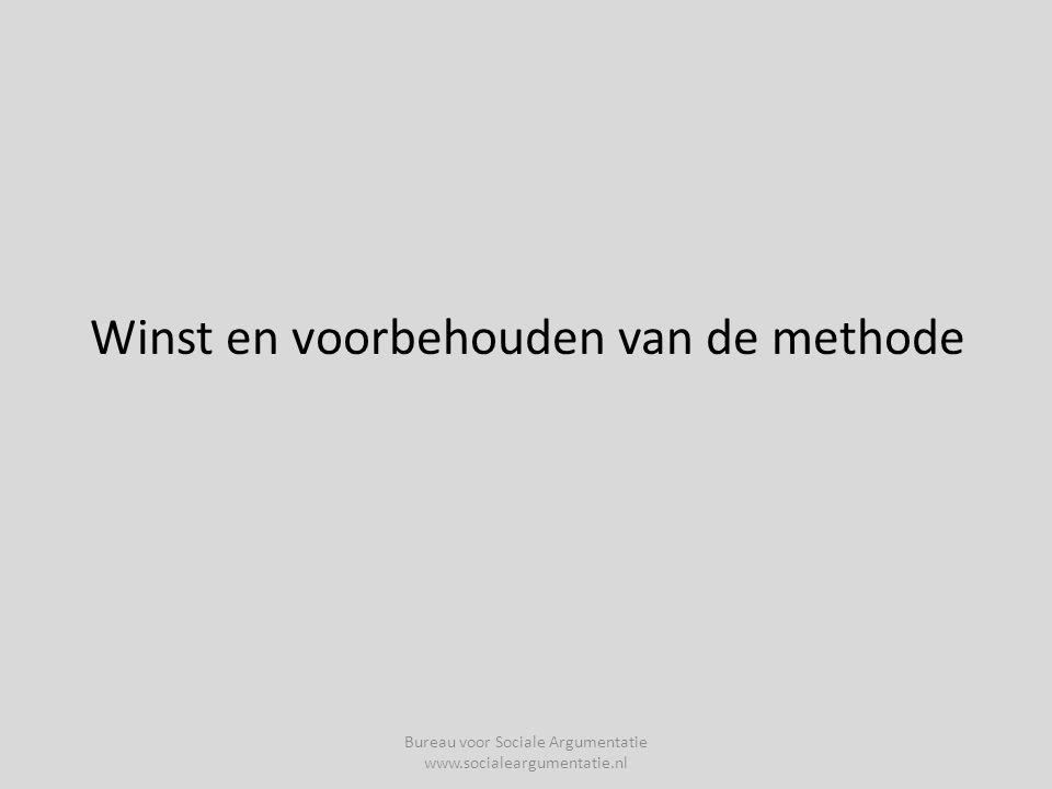 Winst en voorbehouden van de methode Bureau voor Sociale Argumentatie www.socialeargumentatie.nl