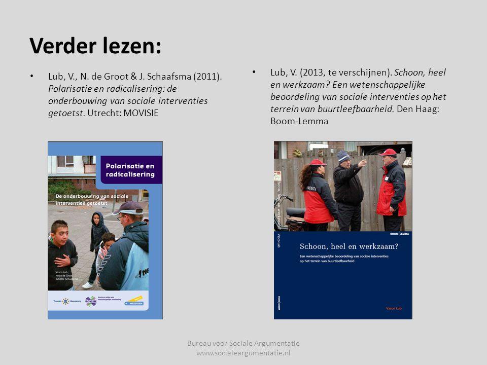 Verder lezen: • Lub, V., N.de Groot & J. Schaafsma (2011).