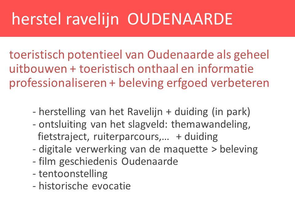 toeristisch potentieel van Oudenaarde als geheel uitbouwen + toeristisch onthaal en informatie professionaliseren + beleving erfgoed verbeteren - hers