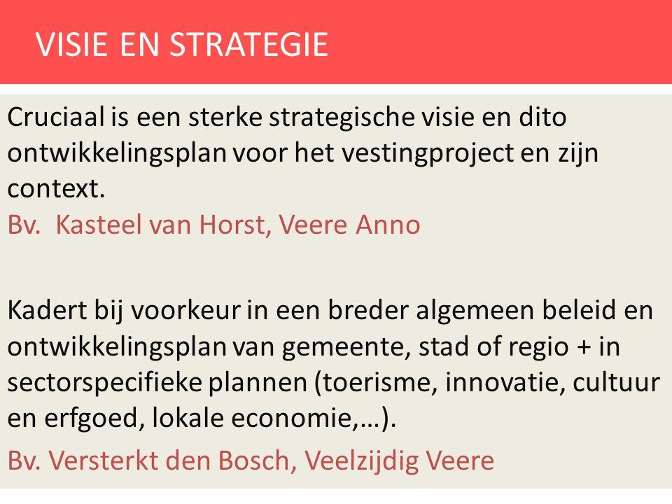 VISIE EN STRATEGIE Cruciaal is een sterke strategische visie en dito ontwikkelingsplan voor het vestingproject en zijn context. Bv. Kasteel van Horst,