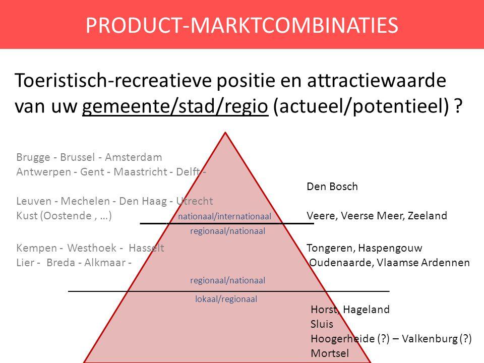 PRODUCT-MARKTCOMBINATIES Toeristisch-recreatieve positie en attractiewaarde van uw gemeente/stad/regio (actueel/potentieel) ? Brugge - Brussel - Amste