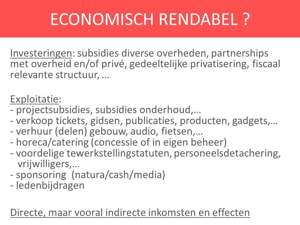 ECONOMISCH RENDABEL ? Investeringen: subsidies diverse overheden, partnerships met overheid en/of privé, gedeeltelijke privatisering, fiscaal relevant