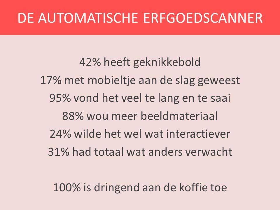 DE AUTOMATISCHE ERFGOEDSCANNER 42% heeft geknikkebold 17% met mobieltje aan de slag geweest 95% vond het veel te lang en te saai 88% wou meer beeldmat