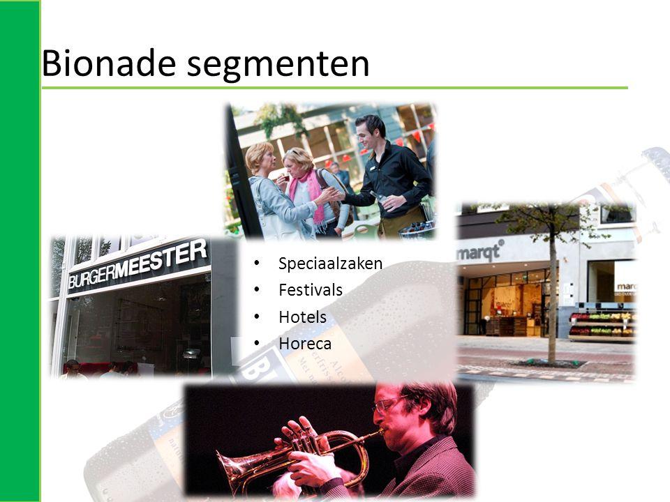 Bionade segmenten • Speciaalzaken • Festivals • Hotels • Horeca