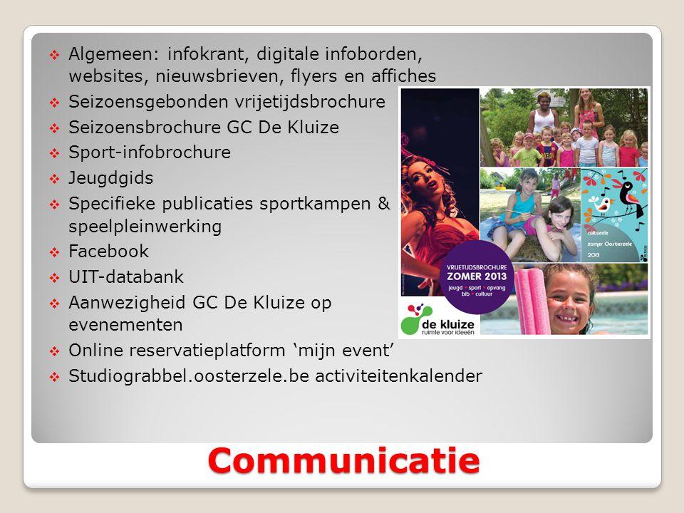  Algemeen: infokrant, digitale infoborden, websites, nieuwsbrieven, flyers en affiches  Seizoensgebonden vrijetijdsbrochure  Seizoensbrochure GC De