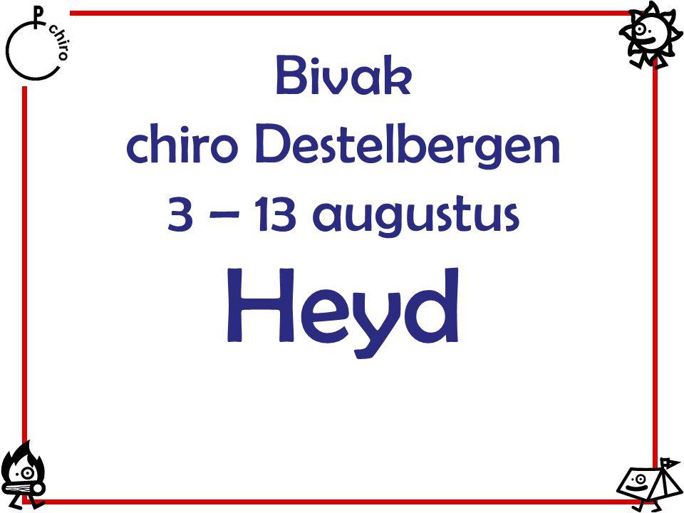 Bivak chiro Destelbergen 3 – 13 augustus Heyd