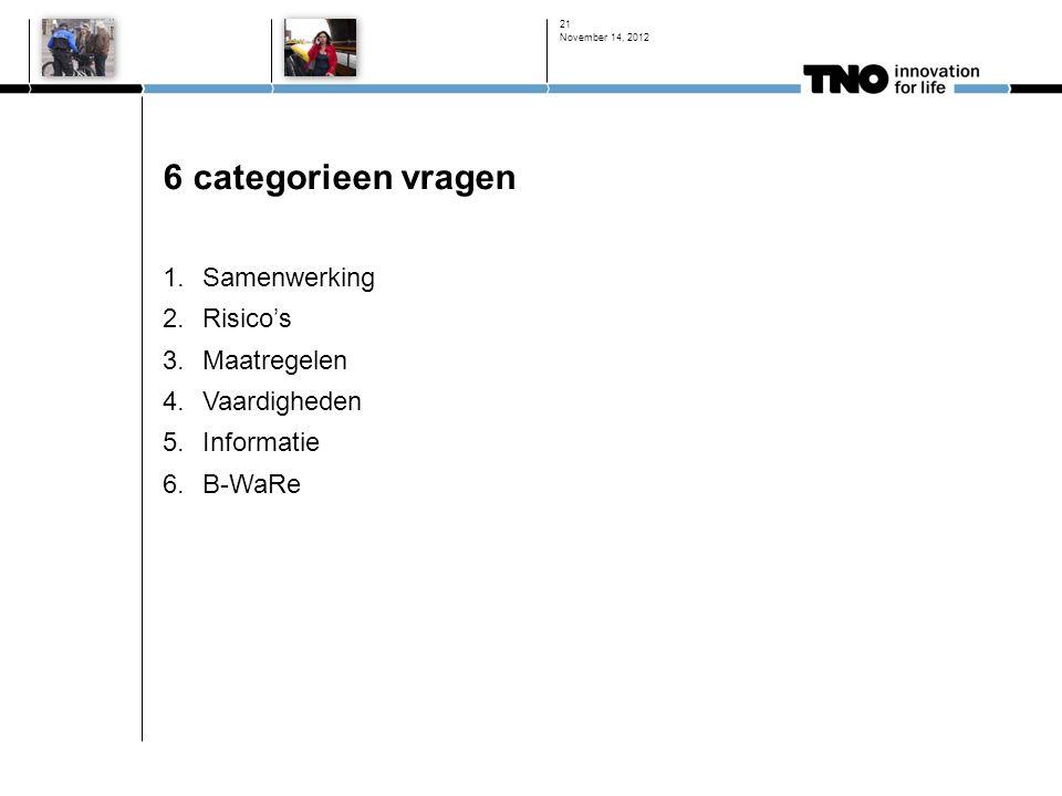 6 categorieen vragen 1.Samenwerking 2.Risico's 3.Maatregelen 4.Vaardigheden 5.Informatie 6.B-WaRe November 14, 2012 21