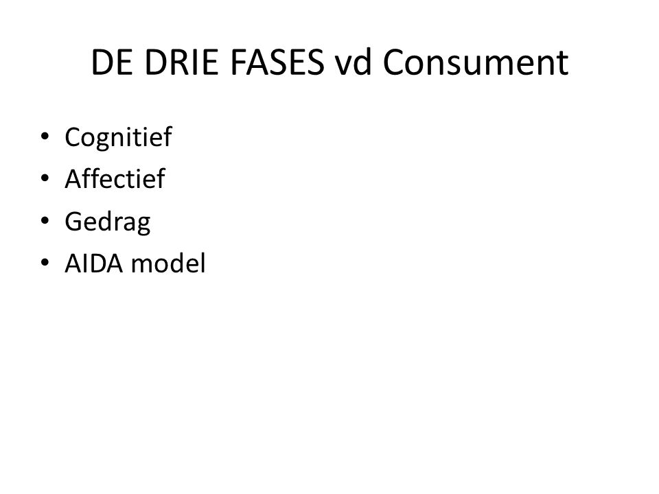 DE DRIE FASES vd Consument • Cognitief • Affectief • Gedrag • AIDA model