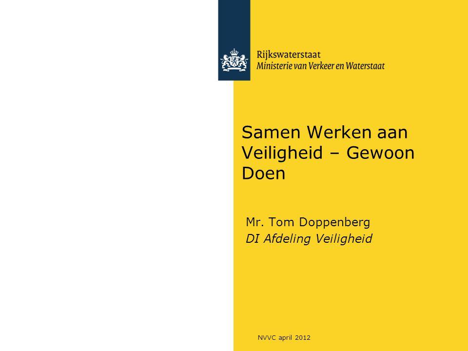 Samen Werken aan Veiligheid – Gewoon Doen Mr. Tom Doppenberg DI Afdeling Veiligheid NVVC april 2012