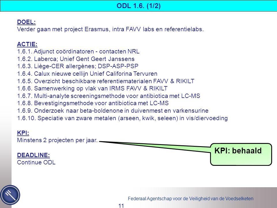 Federaal Agentschap voor de Veiligheid van de Voedselketen 11 DOEL: Verder gaan met project Erasmus, intra FAVV labs en referentielabs.