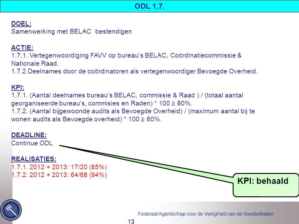 Federaal Agentschap voor de Veiligheid van de Voedselketen 13 DOEL: Samenwerking met BELAC bestendigen ACTIE: 1.7.1.