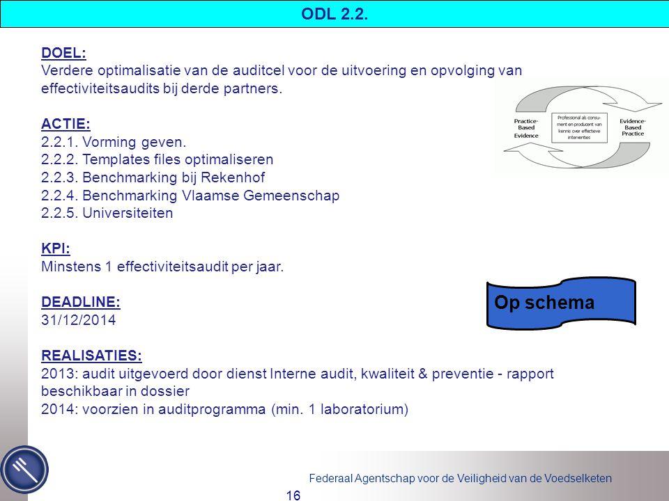 Federaal Agentschap voor de Veiligheid van de Voedselketen 16 DOEL: Verdere optimalisatie van de auditcel voor de uitvoering en opvolging van effectiviteitsaudits bij derde partners.