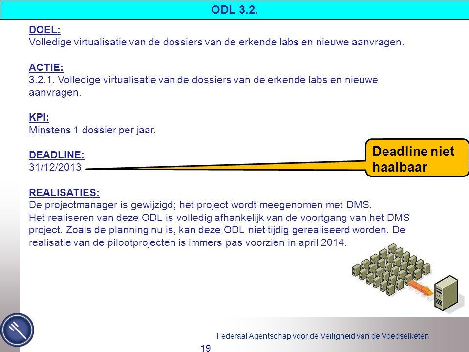 Federaal Agentschap voor de Veiligheid van de Voedselketen 19 DOEL: Volledige virtualisatie van de dossiers van de erkende labs en nieuwe aanvragen.