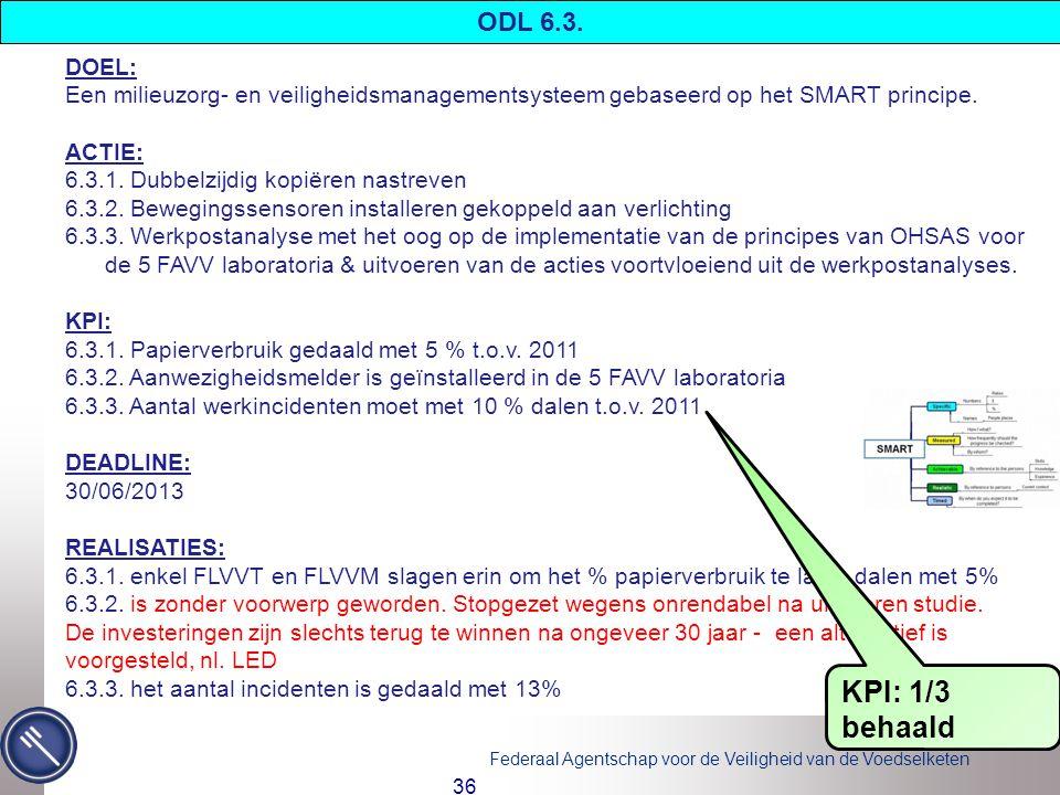 Federaal Agentschap voor de Veiligheid van de Voedselketen 36 DOEL: Een milieuzorg- en veiligheidsmanagementsysteem gebaseerd op het SMART principe.