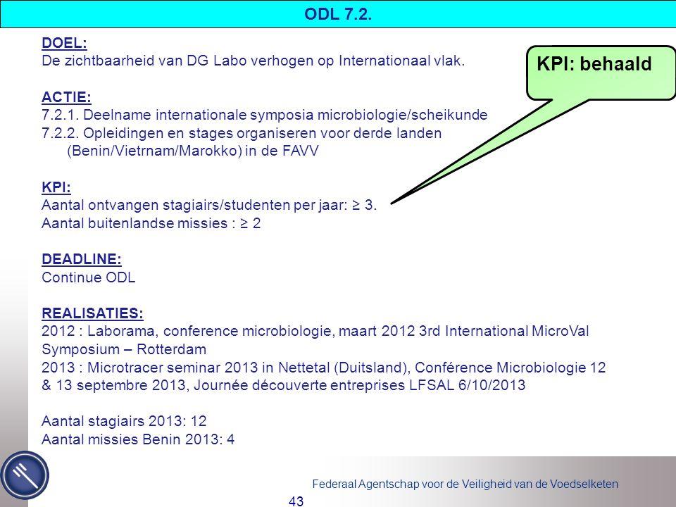 Federaal Agentschap voor de Veiligheid van de Voedselketen 43 DOEL: De zichtbaarheid van DG Labo verhogen op Internationaal vlak.