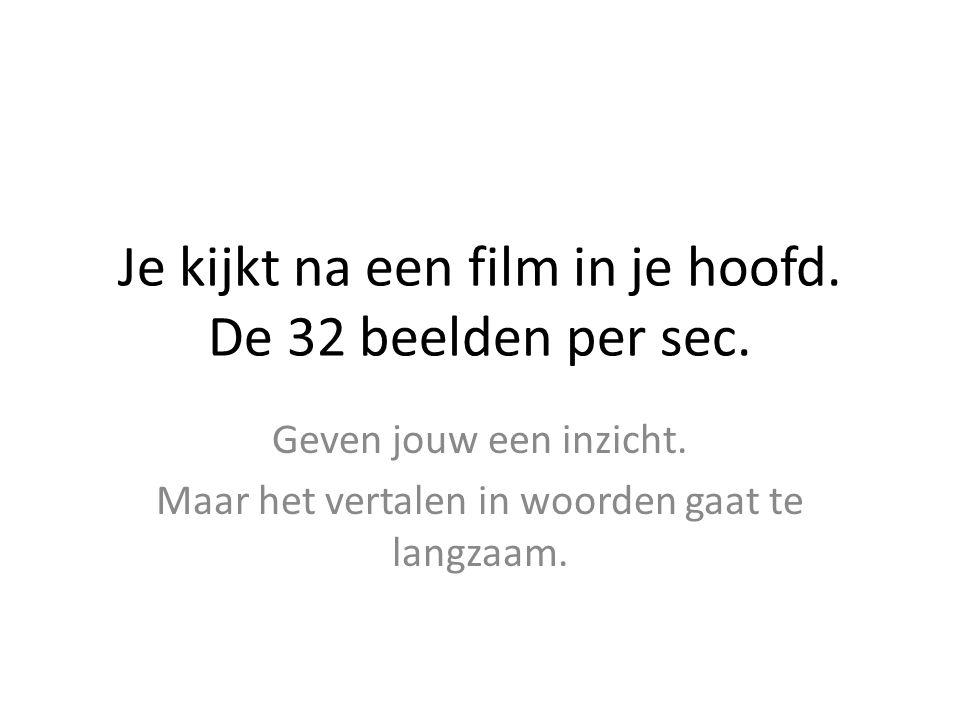 Je kijkt na een film in je hoofd. De 32 beelden per sec. Geven jouw een inzicht. Maar het vertalen in woorden gaat te langzaam.