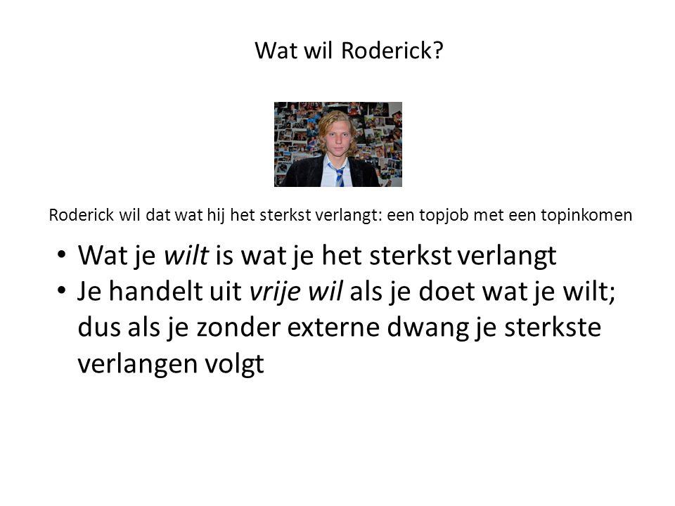 Wat wil Roderick? Roderick wil dat wat hij het sterkst verlangt: een topjob met een topinkomen • Wat je wilt is wat je het sterkst verlangt • Je hande